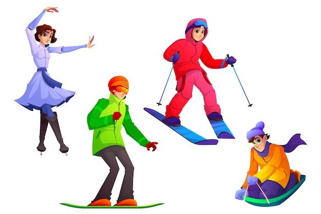 Le persone si dedicano agli sport invernali ricreazione invernale