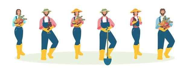 農業に従事する人々農民のセットはフラットスタイルで文字をベクトルします