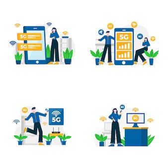 Люди пользуются услугами 5g для связи с мобильными телефонами и иллюстрациями компьютеров,