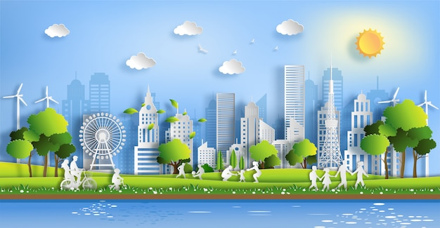 People enjoy activities outdoor with eco green city concept.