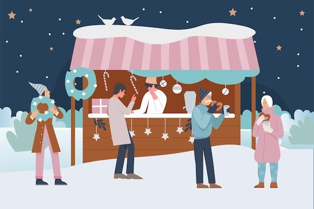 Людям нравится рождественская ярмарка или праздничная городская ярмарка на открытом воздухе