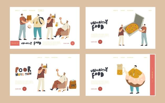 사람들은 거리 카페에서 패스트푸드, 건강에 해로운 식사, 정크 식사 방문 페이지 템플릿 세트를 즐깁니다. 캐릭터는 패스트푸드 버거, 겨자와 핫도그, 감자튀김 또는 소다를 먹습니다. 선형 벡터 일러스트 레이 션