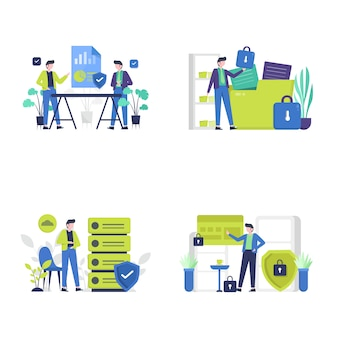 People enjoy important data and file security services on computers and websites   illustration,