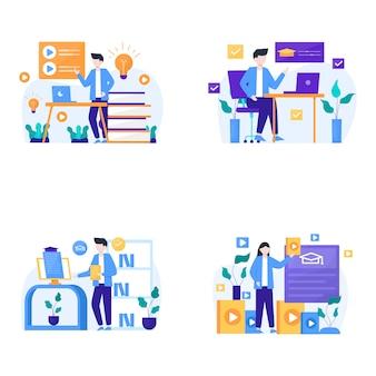 Люди наслаждаются онлайн-курсами обучения, чтобы добавить новые навыки иллюстрации,