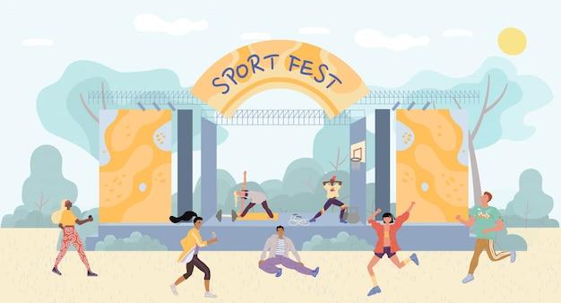 People enjoy open air sport fest entertainment