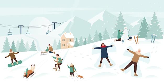 Люди наслаждаются зимними видами спорта на рождественских праздниках в снежной горной пейзажной иллюстрации.