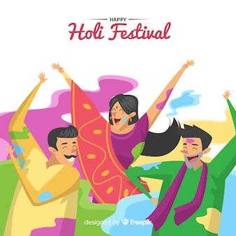 People enjoying holi festival background