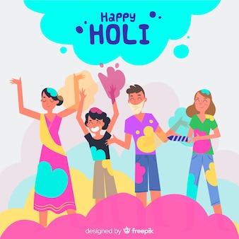 People enjoying holi festival set