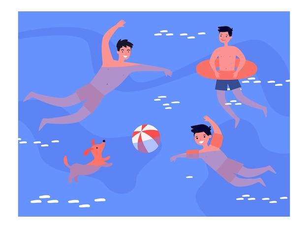 People enjoying leisure time in swimming pool