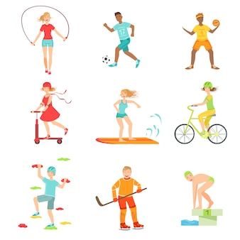 People enjoying physical activities illustrations