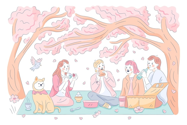 People enjoying a picnic hanami sakura festival