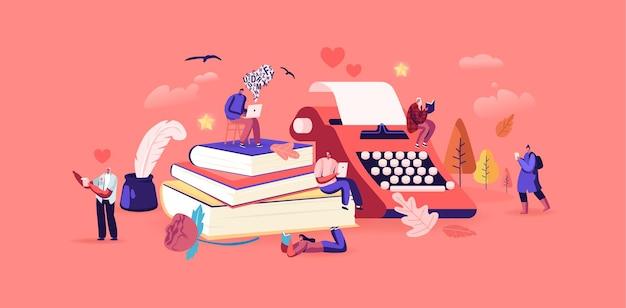 문학 읽기와 시 또는 산문 개념 쓰기를 즐기는 사람들. 거대한 책의 작은 캐릭터는 고전 구절, 시를 읽습니다. 잉크 깃털 사용, 로맨틱 무드. 만화 사람들 벡터 일러스트 레이 션