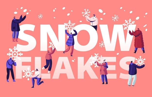 Люди наслаждаясь концепцией снегопада. мультфильм плоский иллюстрация