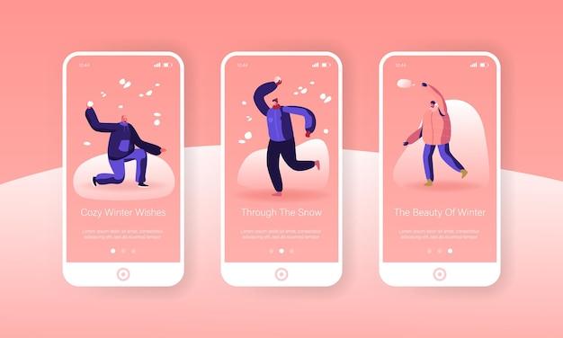 Люди наслаждаются снегопадом, играя в снежки. страница мобильного приложения. набор экранов.
