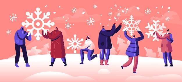 폭설을 즐기는 사람들. 겨울 휴가 축제 시즌 개념. 만화 평면 그림