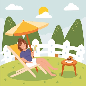 People enjoying staycation concept