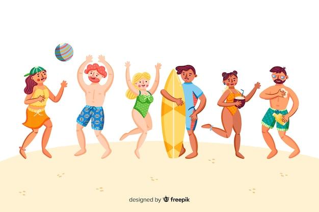 People enjoying summer