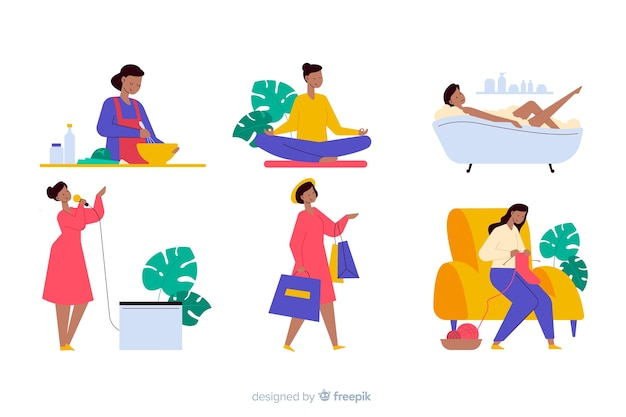 People enjoying their hobbies flat design