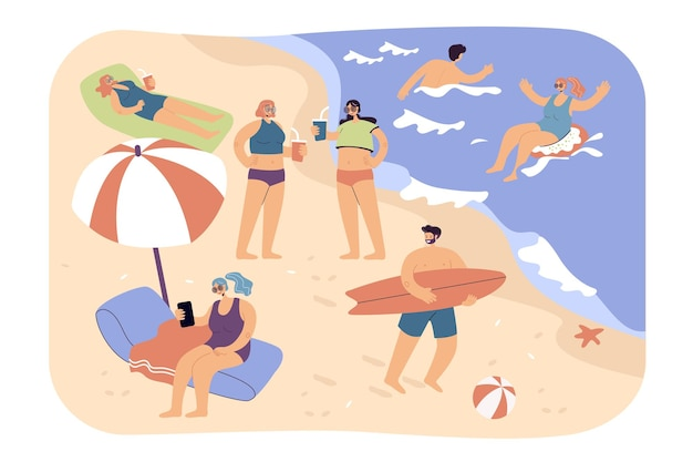 해변, 수영, 서핑, 우산 아래에 앉아 다양한 여름 활동을 즐기는 사람들. 바다에서 편안한 관광객