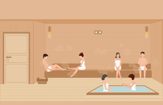 People enjoys in sauna steam room