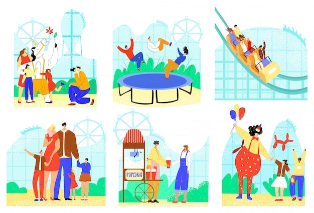 People in entertainment park  illustration set, cartoon  active family character have fun, park attraction icons  on white