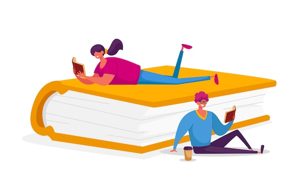 People enthusiastically reading sitting and lying on huge book.
