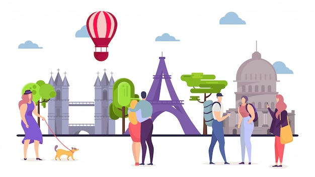People at europe travel, man woman tourism  illustration. tourist at vacation trip walk, world tour at architecture sights.