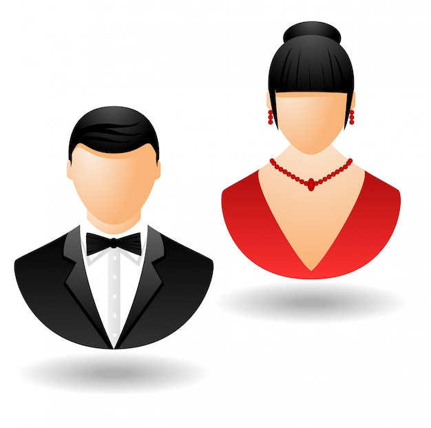 People in evening dress icons isolated