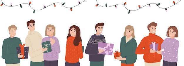 People exchange gift boxes