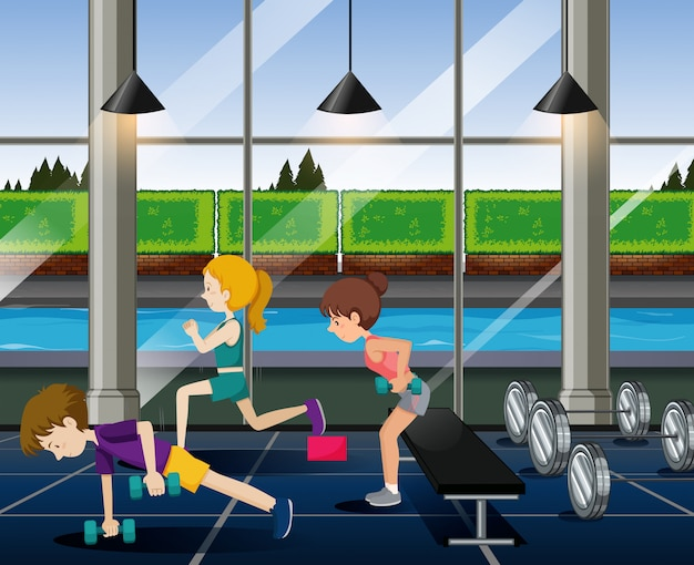 People exercise in the gym
