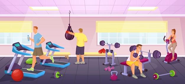人々はスポーツジムで運動し、フィットネス機器を使って運動します。男性と女性のワークアウトベクトルイラストと漫画のトレーニングクラブのインテリア