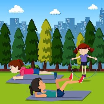 사람들은 공원에서 운동합니다.