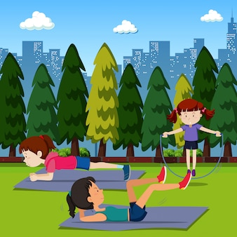 People exercise in the park
