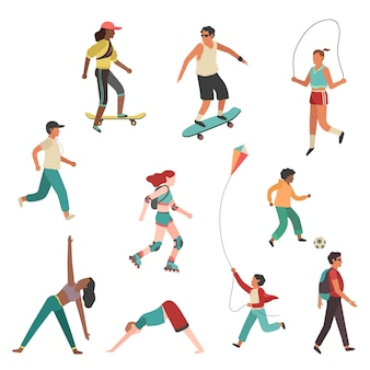 People exercise. person city girl boy, man and young woman running physical activity