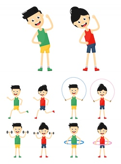 People exercises icons set