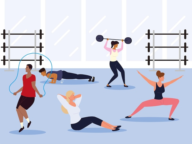 People exercising at gym fitness exercises