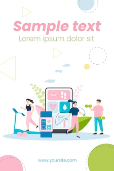 People exercising in gym with heart beat monitoring apps illustration Premium Vector