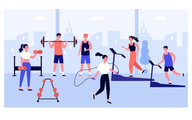 파노라마 창 체육관에서 운동하는 사람들