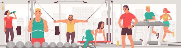 Люди, тренирующиеся в тренажерном зале мужчины и женщины выполняют силовые и кардиоупражнения.