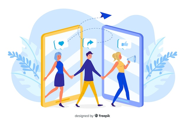 People exiting and entering on phone screen concept illustration