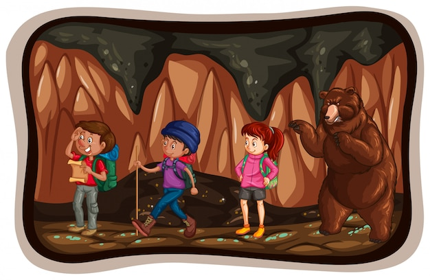 People exploring the cave
