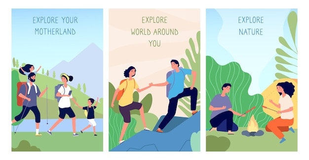 탐험하는 사람들. 국내 관광, 조국 카드 여행. 남자 여자 하이킹 트레킹 및 캠핑 배경입니다. 여행자 벡터 일러스트와 함께 만화 풍경입니다. 관광 모험 하이킹