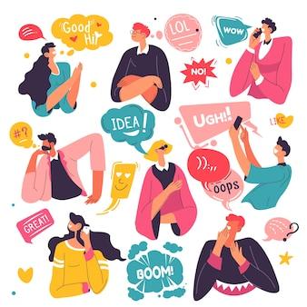 Люди выражают эмоции и используют стикеры и пузыри. изолированные мужские и женские персонажи с идеей или удивлением, бумом и приветствием. персонажи по телефонам разговаривают и улыбаются. вектор в плоском стиле