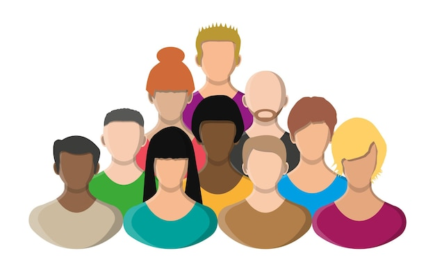 사람들은 얼굴, 아바타 아이콘, 만화 캐릭터 색상. 남성과 여성. 평면 스타일의 벡터 일러스트 레이 션