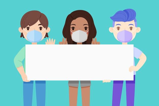 Persone in maschere facciali con cartelli illustrati