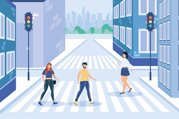 People faceless crossing road on crosswalk