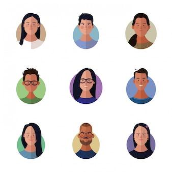 People faces cartoon