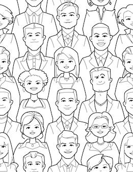 People faces coloring page