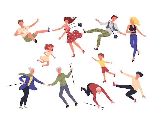 People fall illustration set.