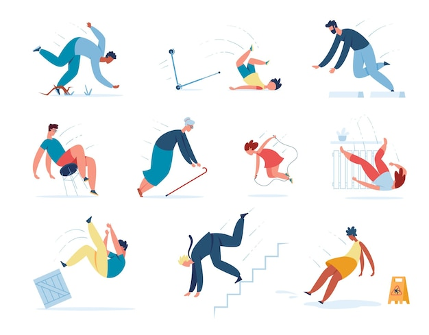 People falling down stairs, tripping and slipping on wet floor. young or adult characters stumble slip or fall injury accidents vector set. business failure or misfortune, jumping rope fall